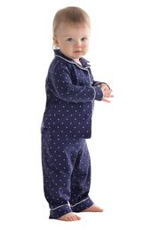 Model wearing Navy Blue and White Polka Dot Button-Front PJ for Infants