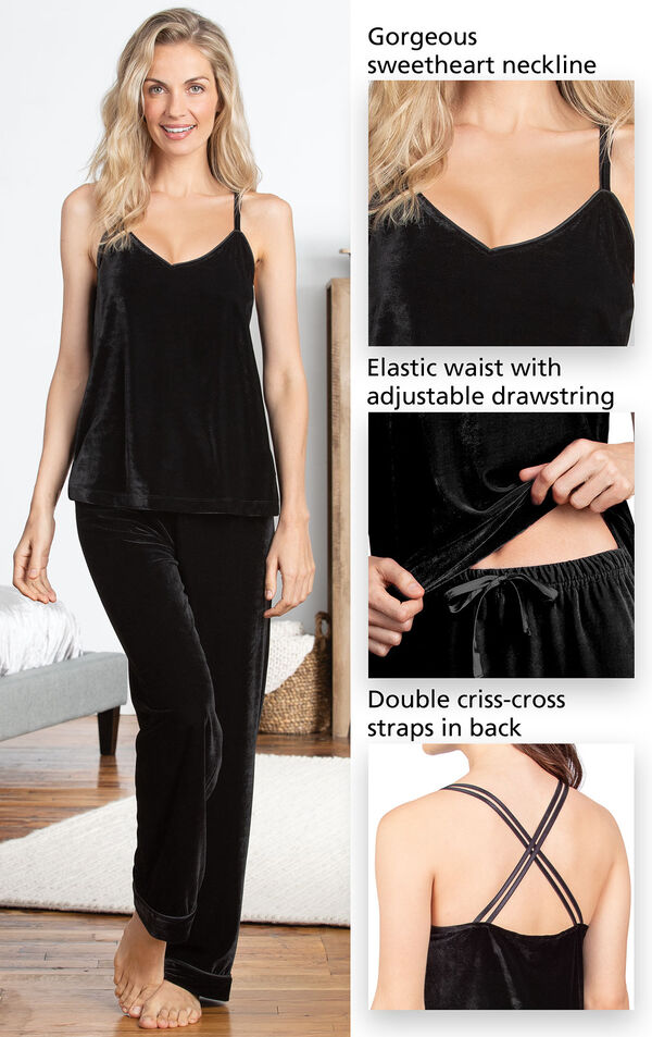 Close-Ups of Velour Cami Pajama Details such as gorgeous sweetheart neckline, elastic waist with adjustable drawstring and double criss-cross straps in the back. image number 3