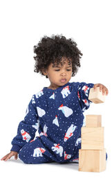 Model wearing Navy Polar Bear Fleece Onesie PJ for Infants image number 0