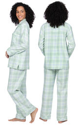 Model wearing Light Green Plaid Button-Front PJ for Women, facing away from the camera and then to the side image number 1