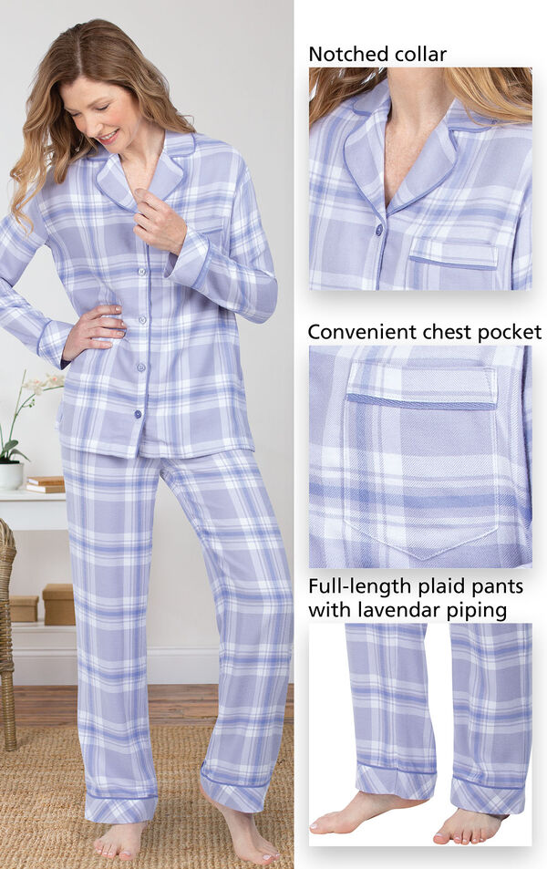 World's Softest Flannel Boyfriend Pajamas feature a notched collar, convenient chest pocket, and full-length plaid pants with grey piping - all shown in images image number 3