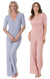 Models wearing Naturally Nude Pajamas - Blue and Naturally Nude Pajamas - Pink.