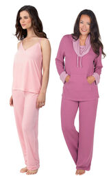 Models wearing Velour Cami Pajamas - Pink and World's Softest Pajamas - Raspberry.