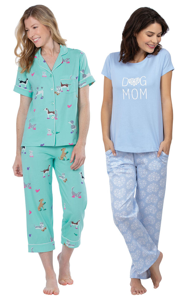 Models wearing Doggy Dreams Short-Sleeve Boyfriend Capri Pajamas - Aqua and Dog Mom Pajamas image number 0