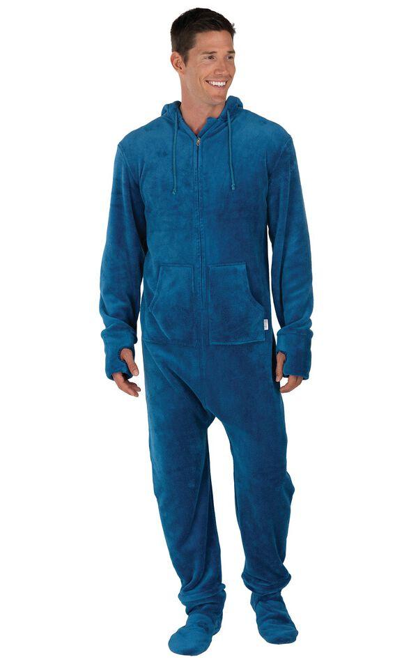 Model wearing Hoodie-Footie - Blue Fleece for Men image number 0