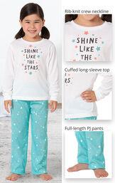 Long Sleeve Girls Pajamas - Shine Like The Stars image number 3