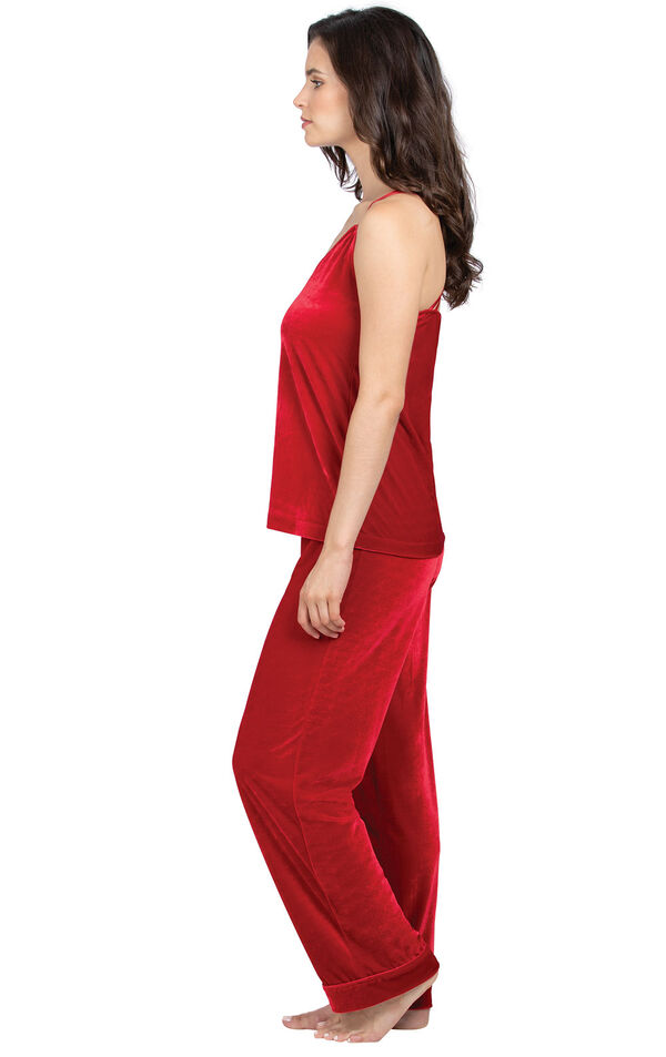Model wearing Red Velour Cami PJ with Satin Trim for Women, facing to the side image number 2