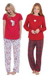 Models wearing Snoopy's Valentine Pajamas and Valentine's Day Plaid Pajamas. image number 0