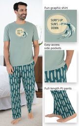 Close-ups of Margaritaville Summer Breeze Men's Pajamas features which include a fun graphic shirt that says ''Surf's Up Sun's Down'', easy-access side pockets and full-length PJ pants image number 3