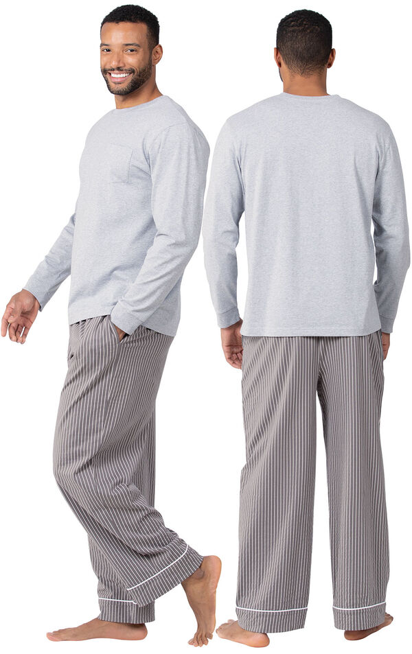 Model wearing Charcoal Gray and White Stripe PJ for Men, facing away from the camera and then to the side image number 1
