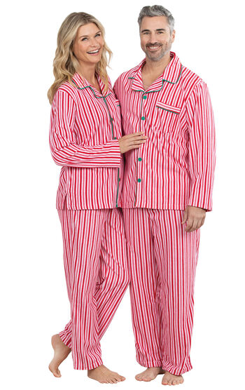 Candy Cane Fleece His & Hers Matching Pajamas