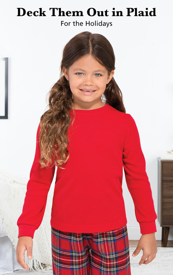Girl wearing Stewart Plaid Thermal-Top Pajamas with the following copy: Deck Them Out in Plaid for the Holidays. image number 1
