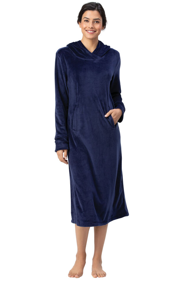 Addison Meadow|PajamaGram Hooded Nightgown - Navy image number 0