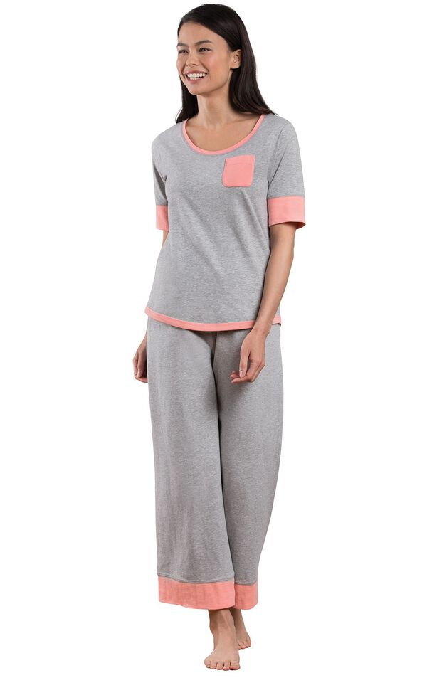 Model wearing Gray Pajama Set with Coral Trim for Women image number 0