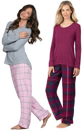 Models wearing World's Softest Flannel Pullover Pajamas - Black Cherry Plaid and World's Softest Flannel Pajama Set - Pink.