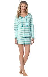 Model wearing Blue Margaritaville Long Sleeve Striped Short Set for Women image number 0