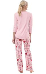 Model wearing I Love Lucy Chocolate Factory PJ for Women, facing away from the camera image number 1