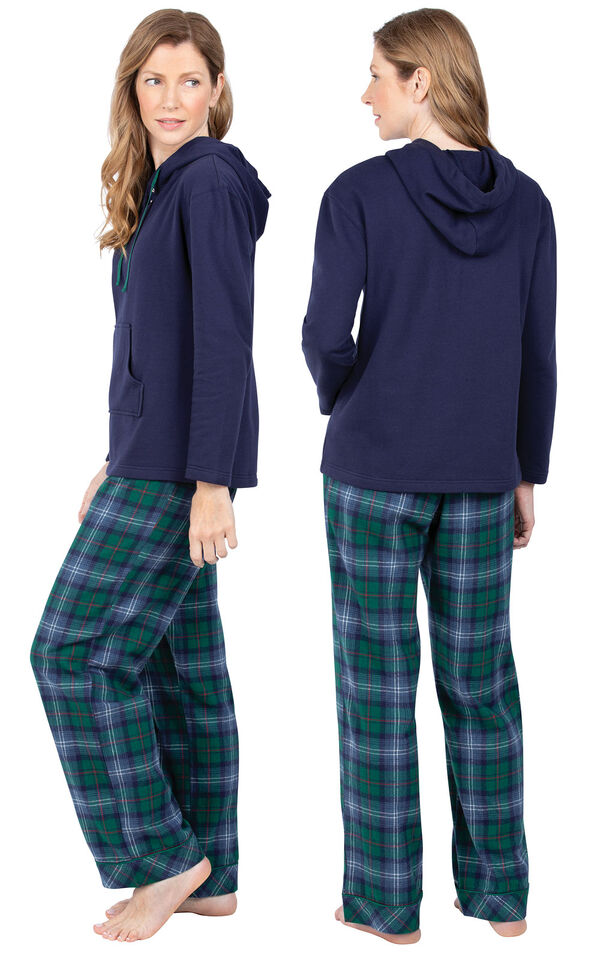 Model wearing Heritage Plaid Hooded Women's Pajamas, facing away from the camera and then facing to the side image number 1
