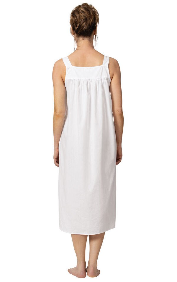 Model wearing Meghan Nightgown  in White for Women, facing away from the camera image number 1
