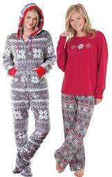 Models wearing Hoodie-Footie - Nordic Fleece and Nordic Pajamas.