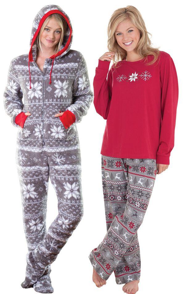 Models wearing Hoodie-Footie - Nordic Fleece and Nordic Pajamas. image number 0