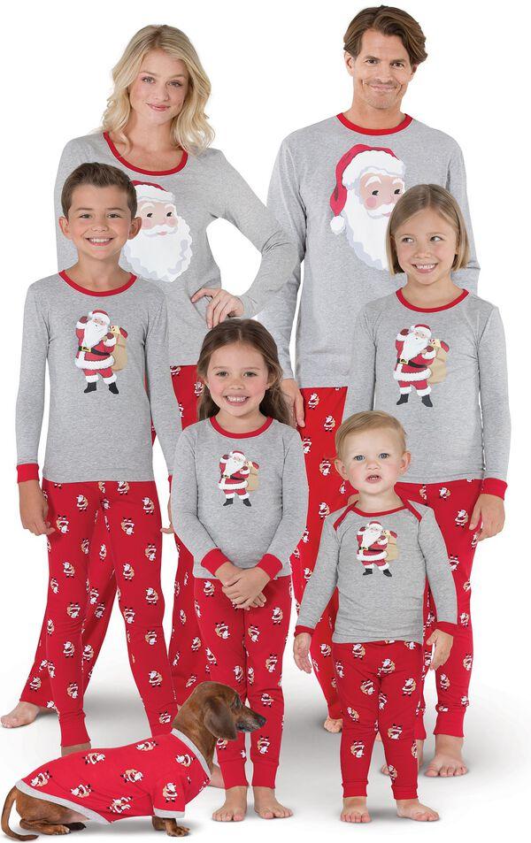 Models wearing Red and Gray Santa Print Matching Family Pajamas image number 0