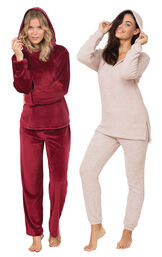 Pink Cozy Escape PJs and Garnet Tempting Touch PJs image number 0