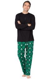 Model wearing Black and Green Snowman Argyle Henley PJ for Men