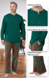 Close-ups of the details of Christmas Tree Plaid Pajamas such as Henley neckline, long sleeves and pockets, and full-length PJ pants image number 3