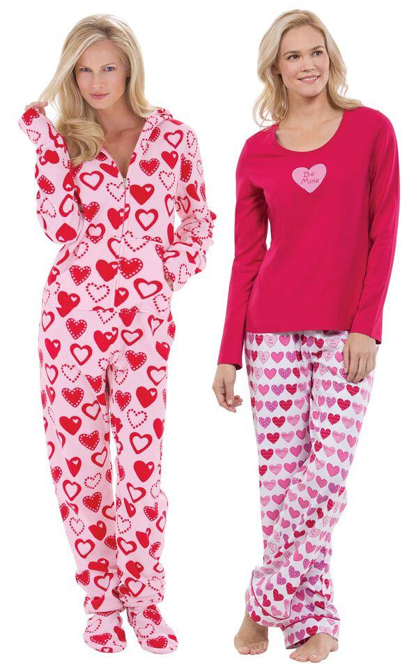Models wearing Be Mine Pajamas and Hoodie-Footie - Sweetheart Snuggle Fleece. image number 0