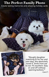 """Pictures of dogs wearing Classic Polka-Dot Pet Pajamas with a customer quote: """"Bought daughter matching PJ for her and new dog. She absolutely loved it. Smile from ear to ear. Easy on and off without opening buttons"""" - Carol T. image number 1"""