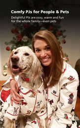 Customer Photo of woman and Dog wearing matching Christmas Dog Print Flannel Pajamas and the following copy: Comfy PJs for People and Pets image number 3