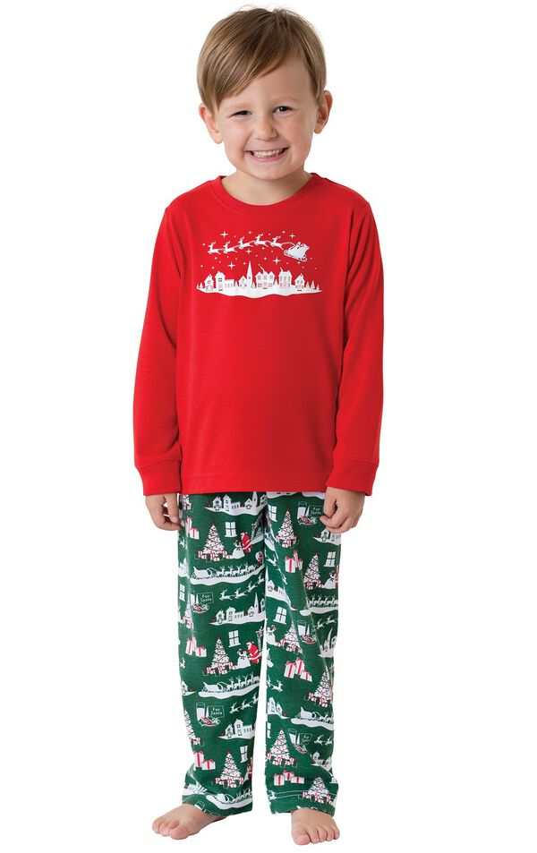 Model wearing Red and Green Night Before Christmas PJ for Toddlers image number 0