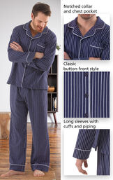 Classic Stripe Men's Pajamas - Navy image number 2