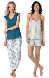 Models wearing Margaritaville Easy Island Capris Pajamas - Blue/White and Margaritaville Cabana Striped Short Set - Blue/White. image number 0