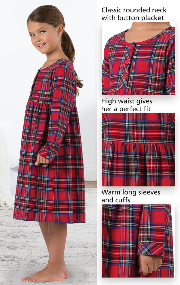 Close-Ups of Stewart Plaid Flannel Girls Nighty features which include a classic rounded neck with button placket, high waist that gives a perfect fit and warm long sleeves and cuffs image number 3