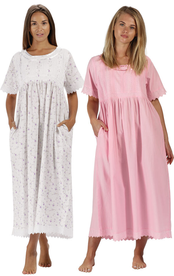 Models wearing Helena Nightgown - Lilac Rose and Helena Nightgown - Pink