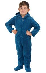 Model wearing Hoodie-Footie - Blue Fleece for Toddlers image number 0