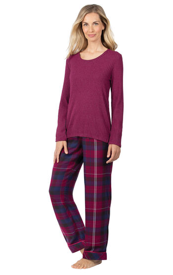 World's Softest Flannel Pullover Pajamas - Black Cherry Plaid