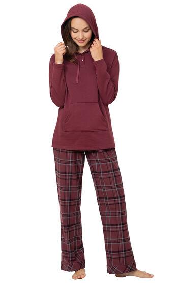 Burgundy Plaid Hooded Women's Pajamas