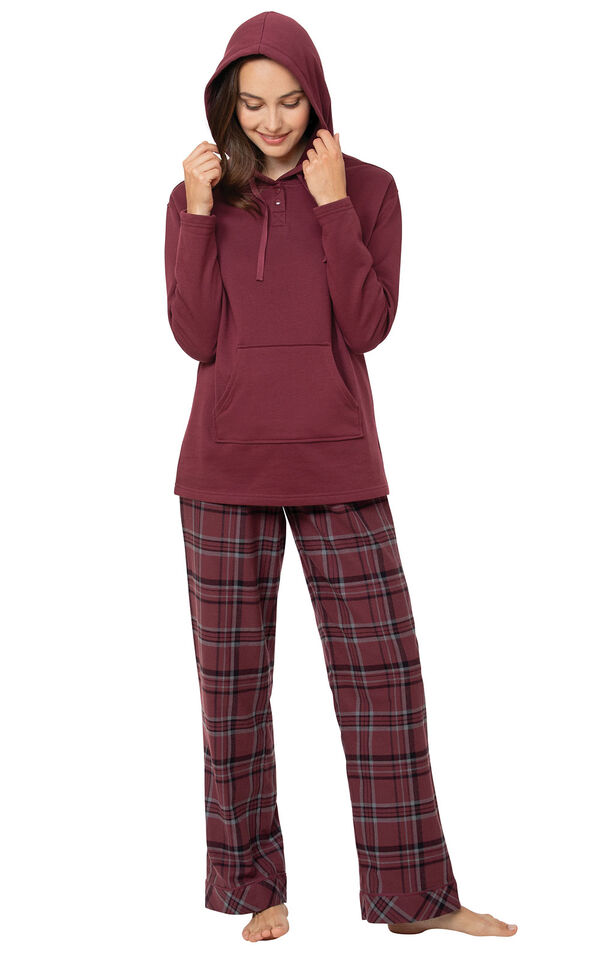 Burgundy Plaid Hooded Women's Pajamas image number 0