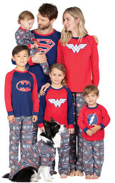Models wearing Red and Blue Justice League Matching Family Pajamas image number 0