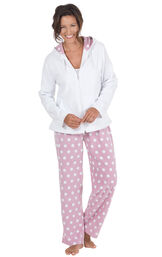 Model wearing Pink and White Polka Dot Fleece PJ for Women image number 0