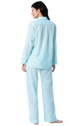 Model wearing Aqua and White Stripe PJ for Women, facing away from the camera image number 1