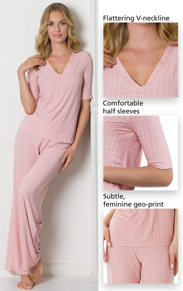 Close-Ups of Nudies PJs features which include a flattering V-neckline, comfortable half sleeves and a subtle, feminine geo print. image number 5