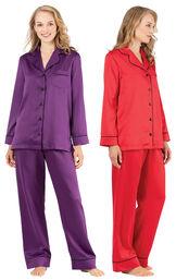 Models wearing Satin Pajamas with Piping - Purple and Satin Pajamas with Piping - Red.