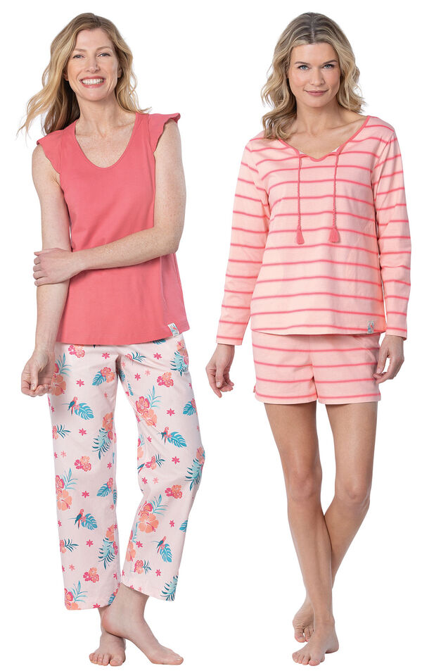 Models wearing Margaritaville Rest and Relaxation Short Set - Pink and Margaritaville Easy Island Capris Pajamas - Pink. image number 0