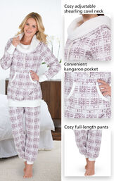 Close-ups of the features of Chalet Shearling Rollneck Pajamas which include a cozy adjustable shearling cowl neck, convenient kangaroo pocket and cozy full-length pants image number 4