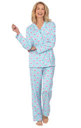 Model wearing Aqua and Pink Floral Button-Front PJ for Women image number 0