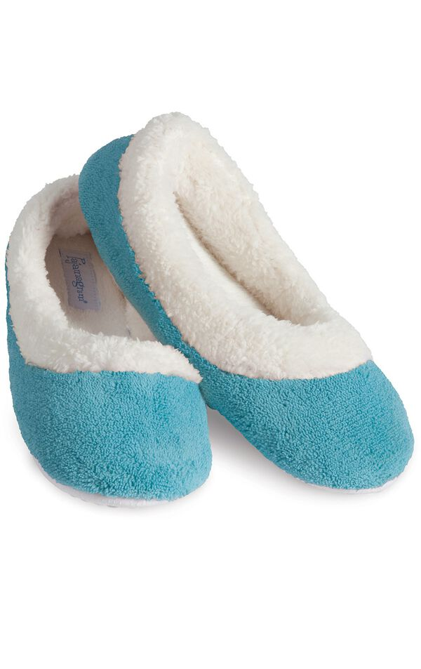 Model wearing World's Softest Teal Slippers for Women image number 0